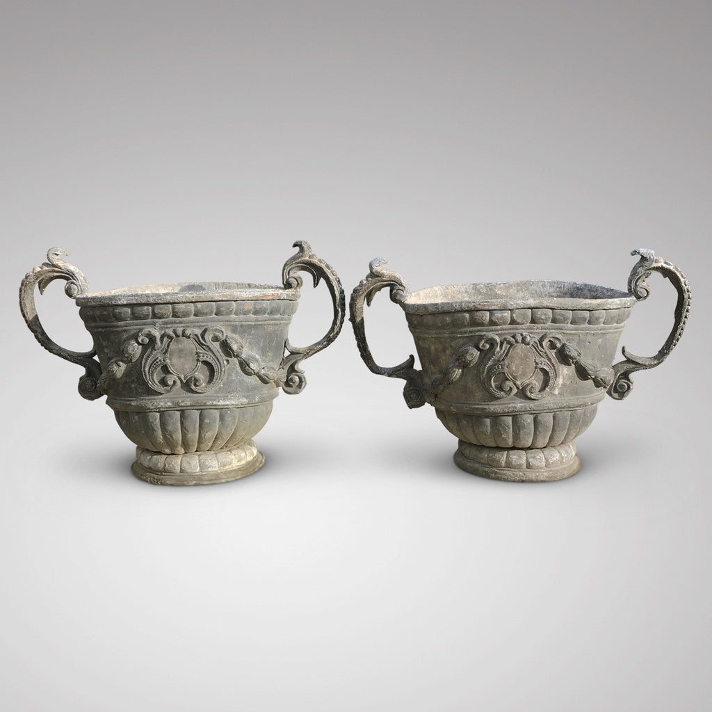 A Fabulous Pair of 18th Century Lead Garden Urns - Main View -2