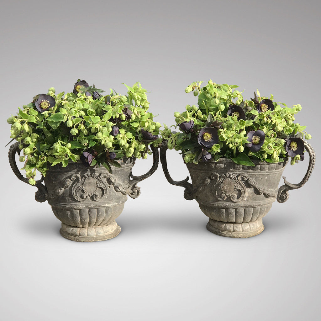 A fabulous Pair of 18th Century Lead Garden Urns - Main Image -1