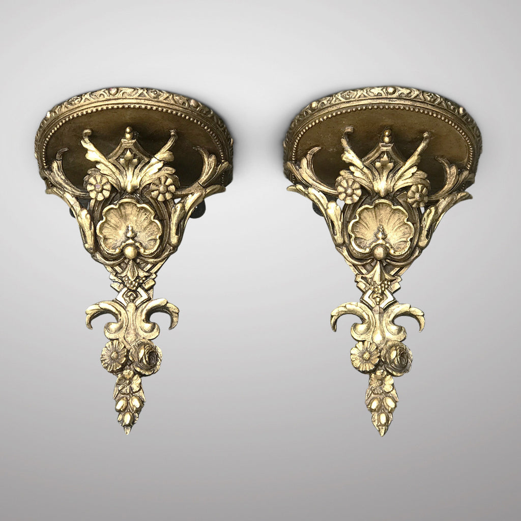 Pair of 19th Century Giltwood & Gesso Wall Brackets