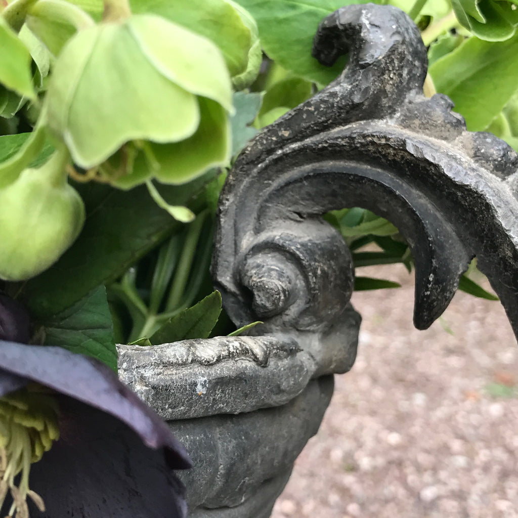 A Fabulous Pair of 18th Century Lead Garden Urns - Handle Detail - 8