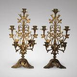 Pair of 19th Century Gilt Candelabra - Front View - 1
