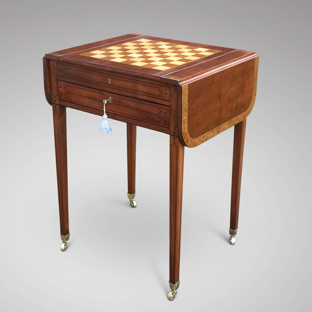 Regency Mahogany Games Table - Front & Side with Chess Board - 2