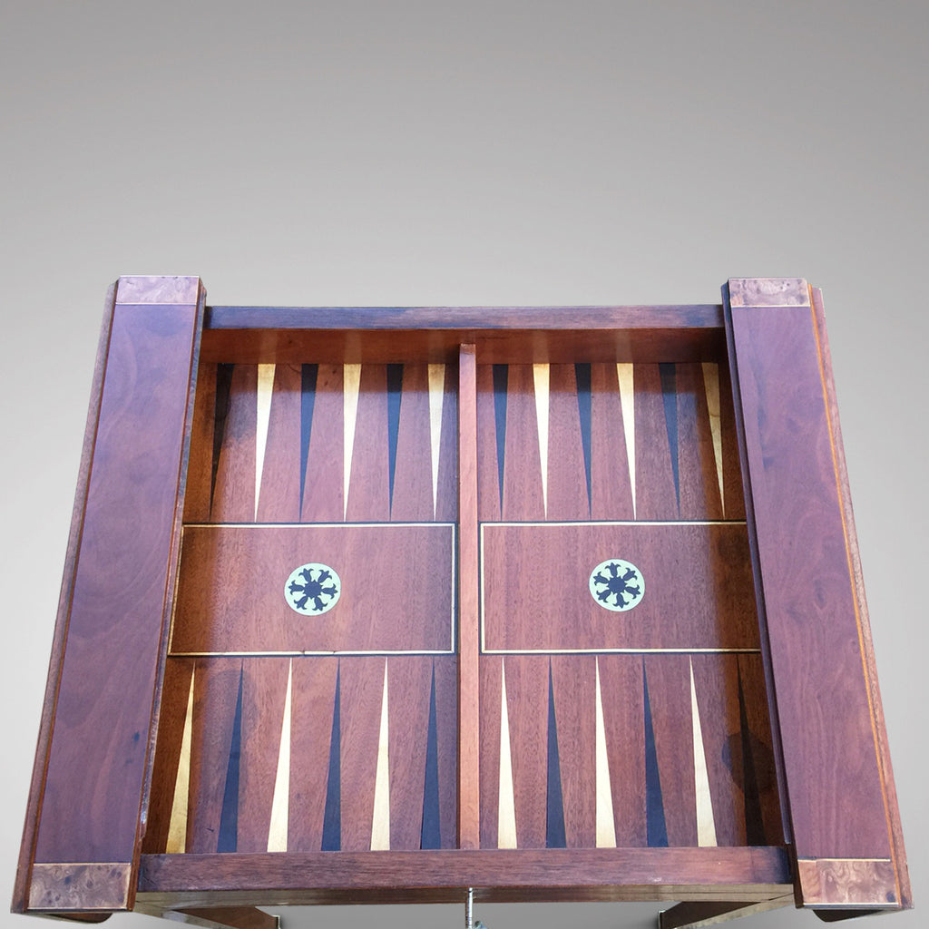 Regency Mahogany Games Table - Inside View of Backgammon Board -6