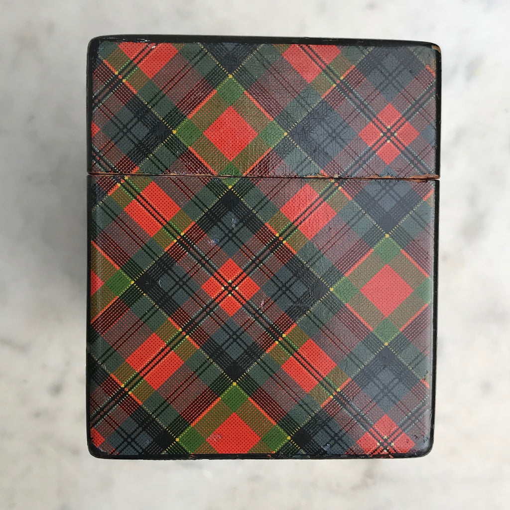 Mauchline Ware McPherson Tartan Ware Playing Card Box - Side View -3