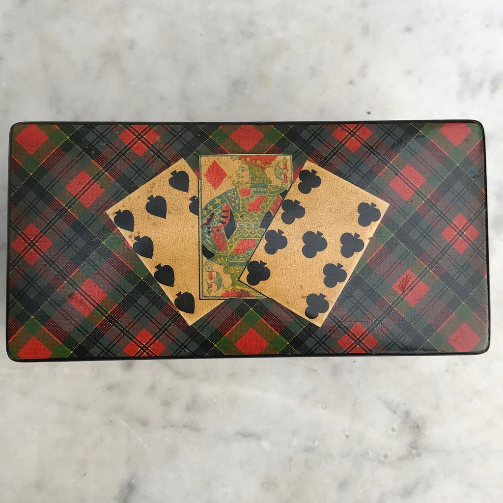 Mauchline Ware McPherson Tartan Ware Playing Card Box - Top View -6