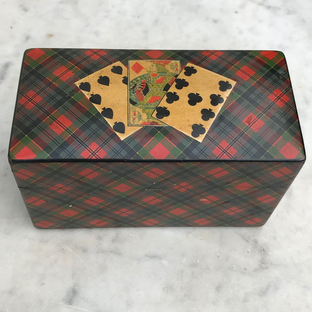 Mauchline Ware McPherson Tartan Ware Playing Card Box - Top View -7
