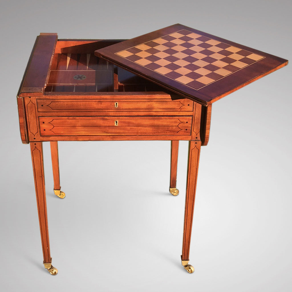Regency Mahogany Games Table - Front & Inside View  - 1