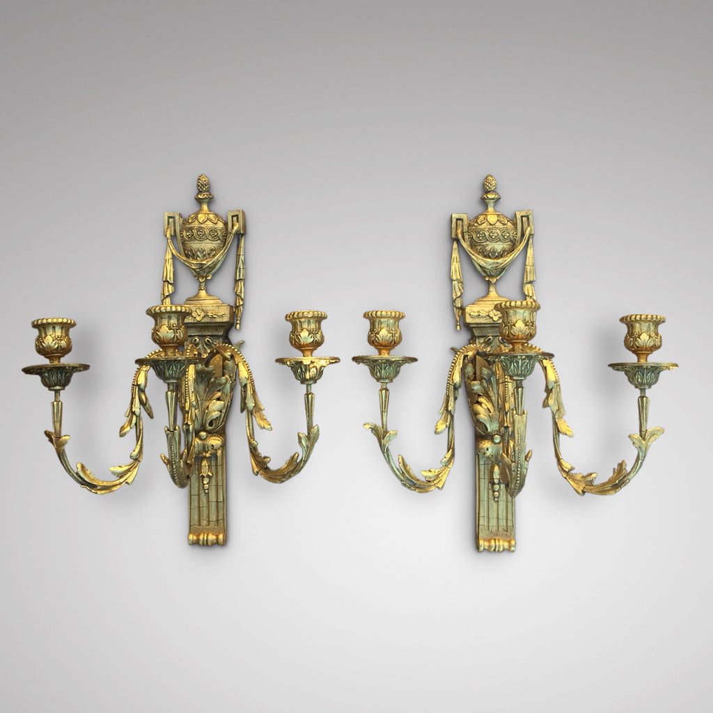 Pair of Regency Gilded Wall Sconces - Front view of pair - 1