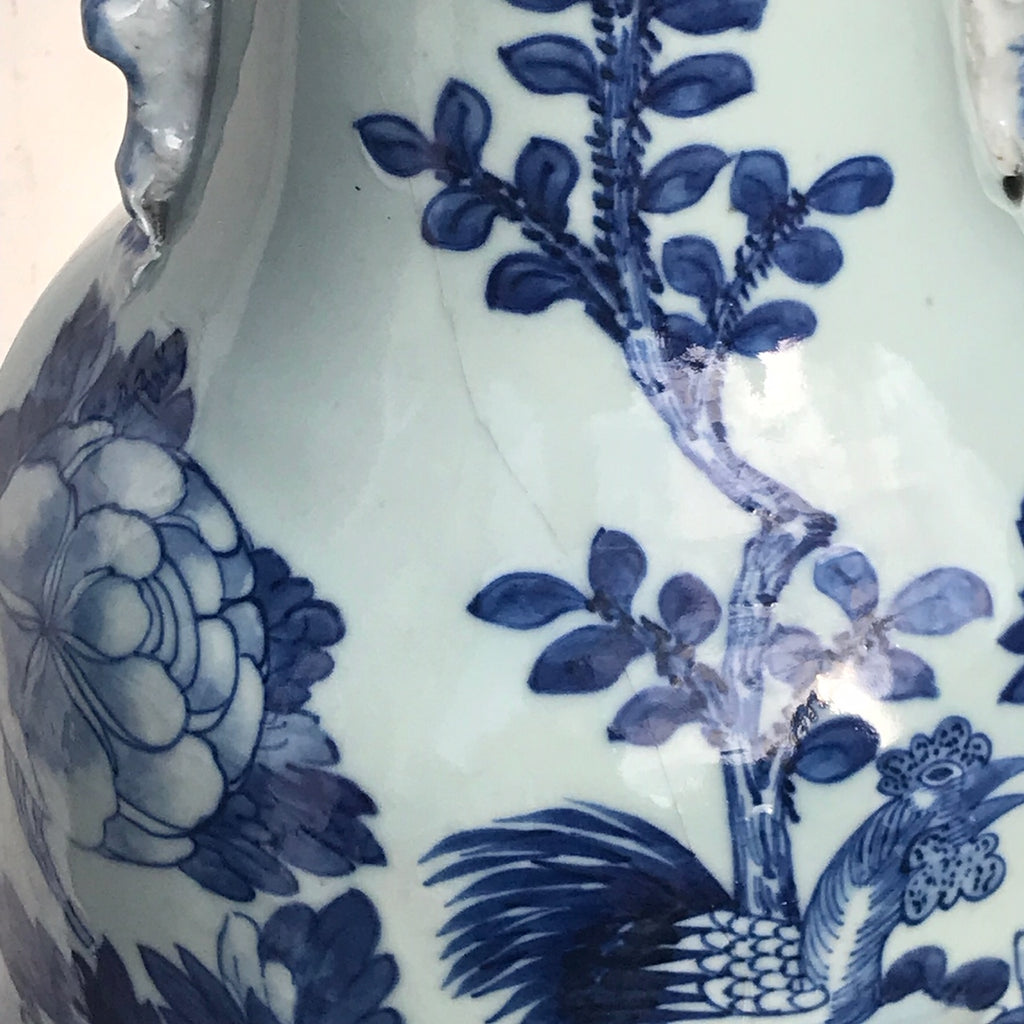 Enormous 19th Century Chinese Porcelain Blue & White Vase - Detail View - 2