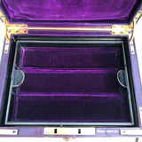 Purple Leather Covered Jewellery Box by Waring & Gillow - Inside View - 4