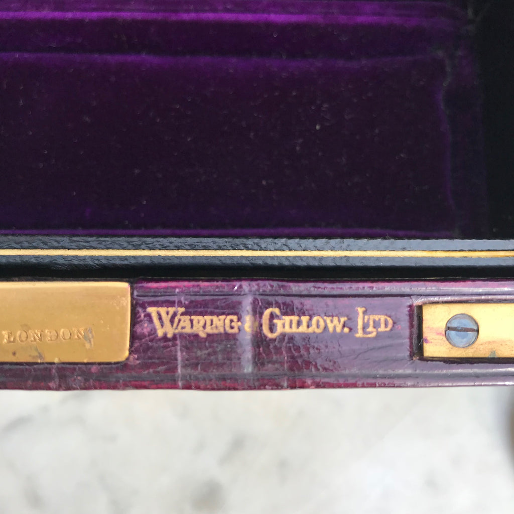 Purple Leather Covered Jewellery Box by Waring & Gillow - Detail View - 5
