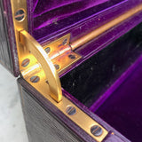 Purple Leather Covered Jewellery Box by Waring & Gillow - Hinge View - 9