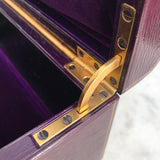 Purple Leather Covered Jewellery Box by Waring & Gillow - Hinge View - 8