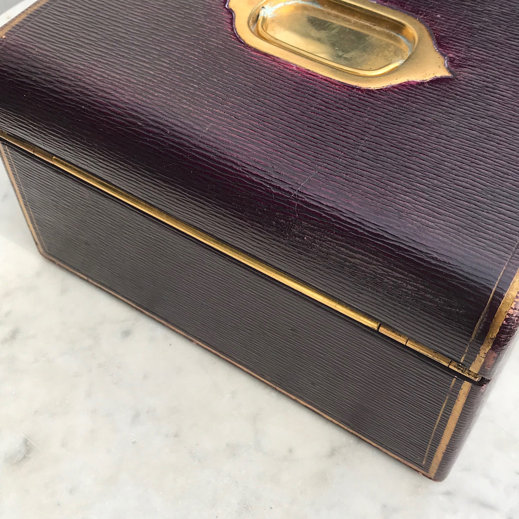 Purple Leather Covered Jewellery Box by Waring & Gillow - Back View - 11