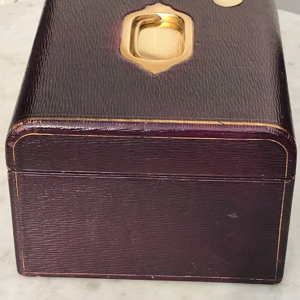 Purple Leather Covered Jewellery Box by Waring & Gillow - Side View - 12