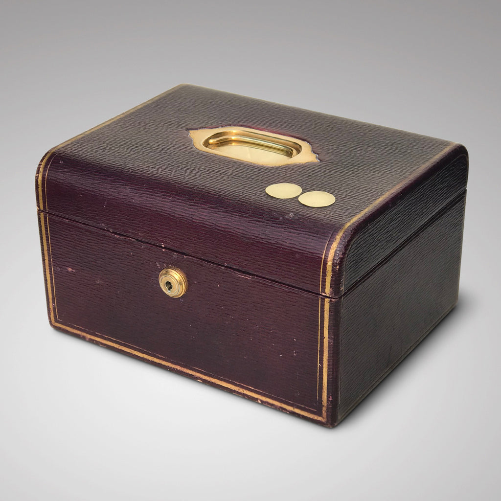 Purple Leather Covered Jewellery Box by Waring & Gillow - Main View - 2
