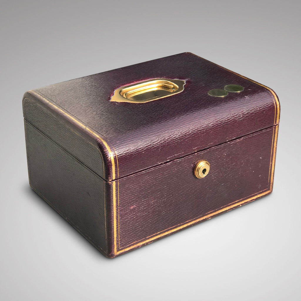 Purple Leather Covered Jewellery Box by Waring & Gillow - Main View - 3