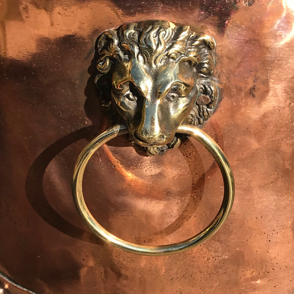 19th Century Copper Riveted & Seamed Log Bin - Handle Detail View -3