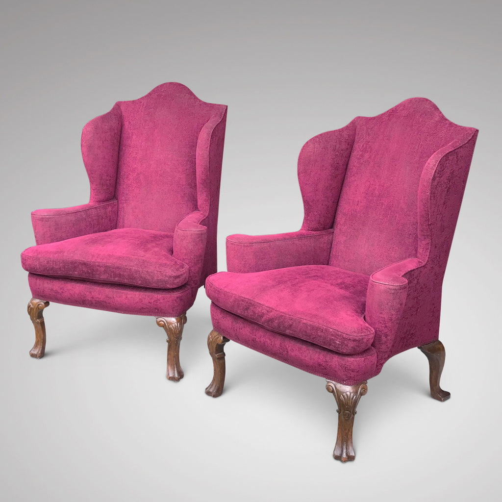 Pair of Early 20th Century Winged Armchairs - Main View - 1