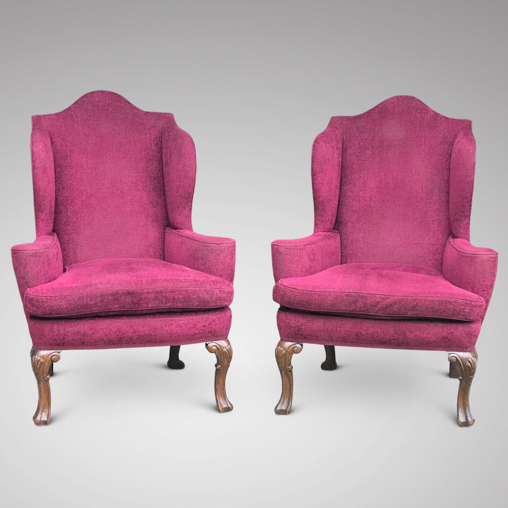Pair of Early 20th Century Winged Armchairs - Main View - 2