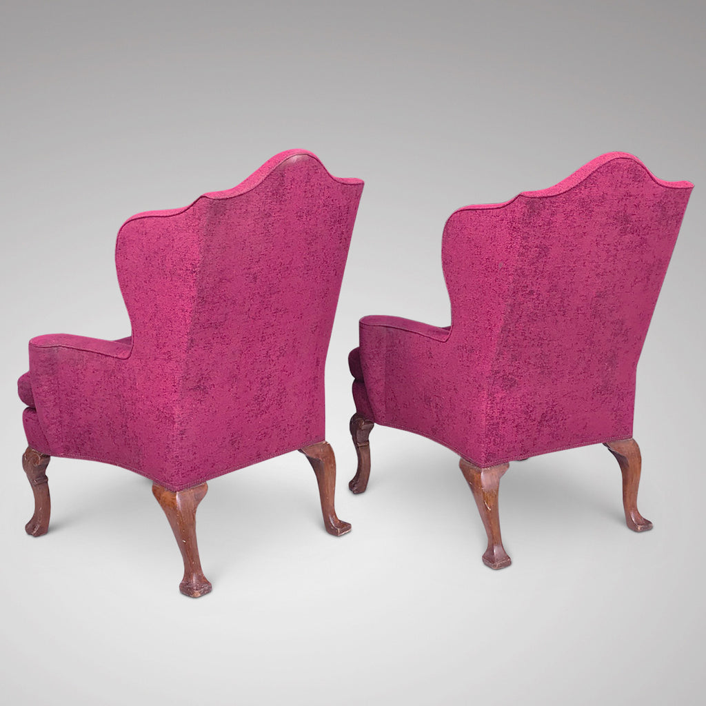 Pair of Early 20th Century Winged Armchairs - Back View - 3