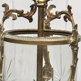 Pair of Early 20th Century Gilt Metal & Glass Lanterns - Detail View - 2