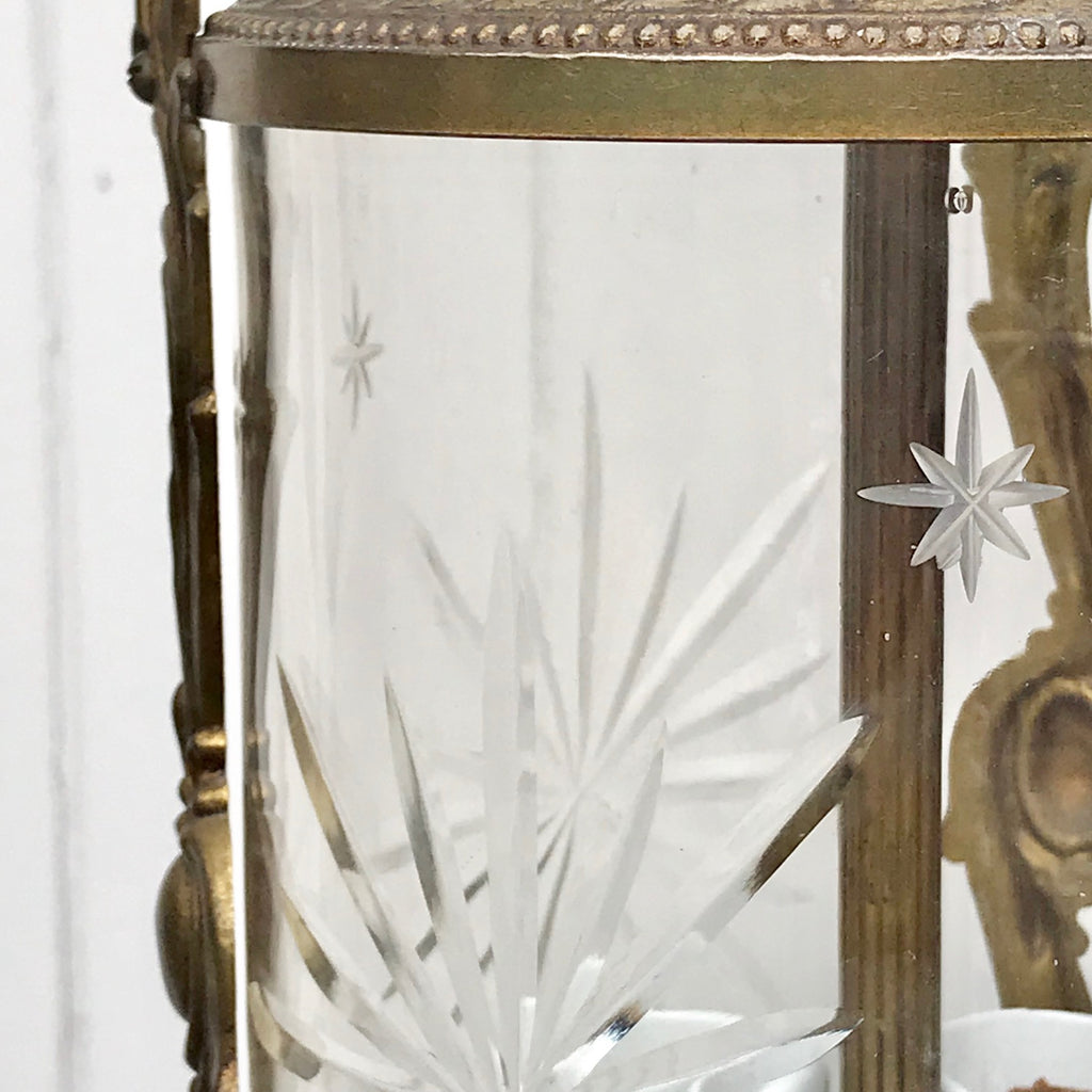 Pair of Early 20th Century Gilt Metal & Glass Lanterns - Detail View - 5