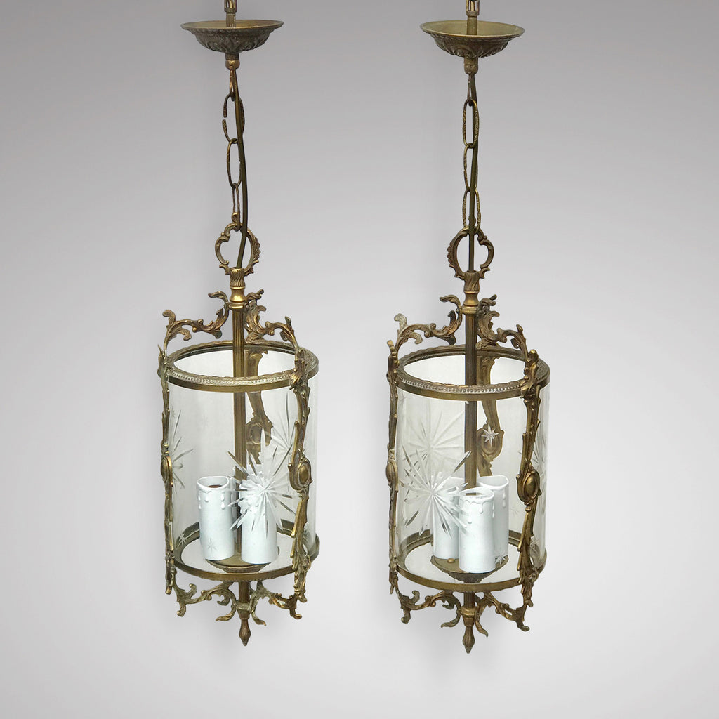 Pair of Early 20th Century Gilt Metal & Glass Lanterns - Main View - 1