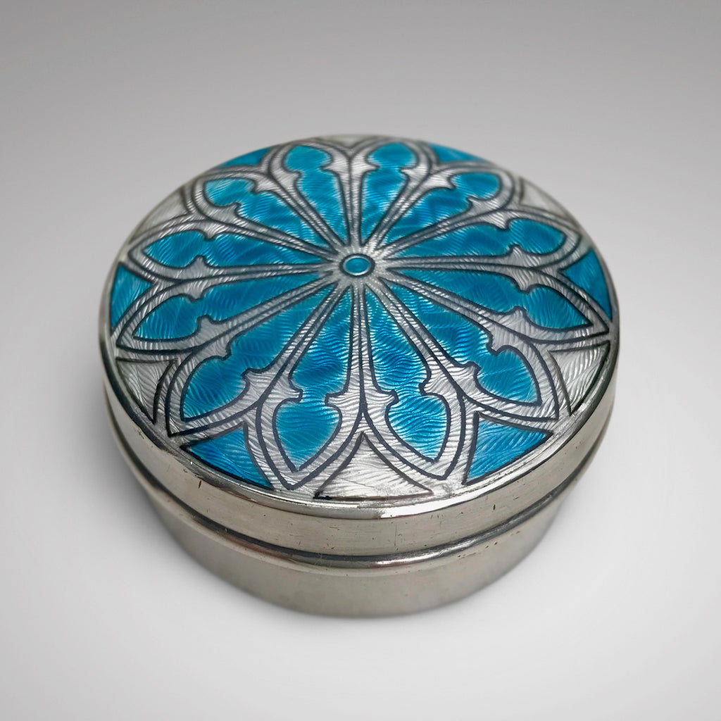 Silver & Enamel Pill Box by Lawrence Emanuel - Main View -1