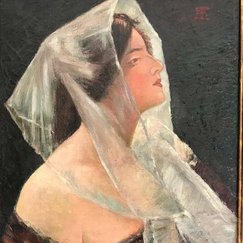Portrait 'Lady with Veil' Oil on Canvas