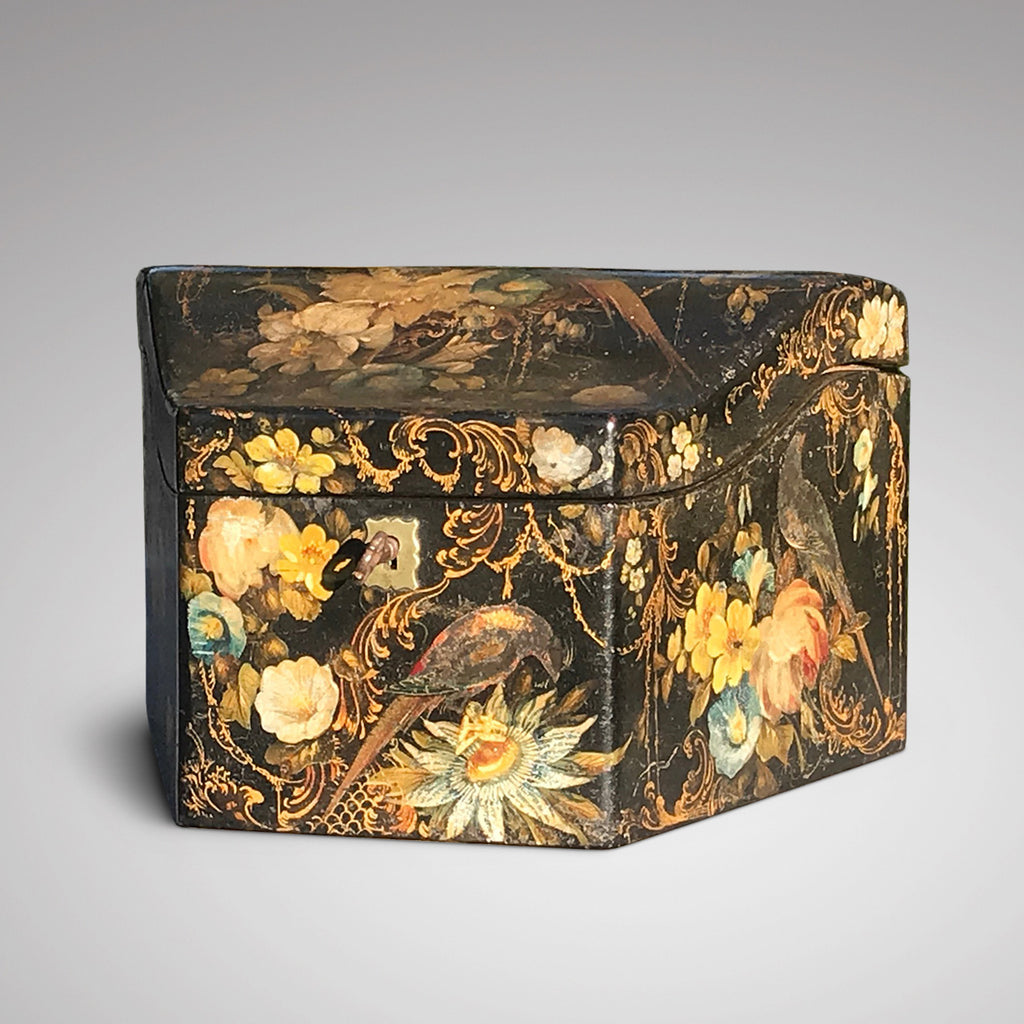 Early Victorian Papier Mache Envelope Box - Main View Closed - 2