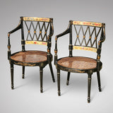An Exceptional Pair of Regency Painted Chairs - Front & side View - 2