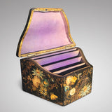 Early Victorian Papier Mache Envelope Box - Main View Open - 1