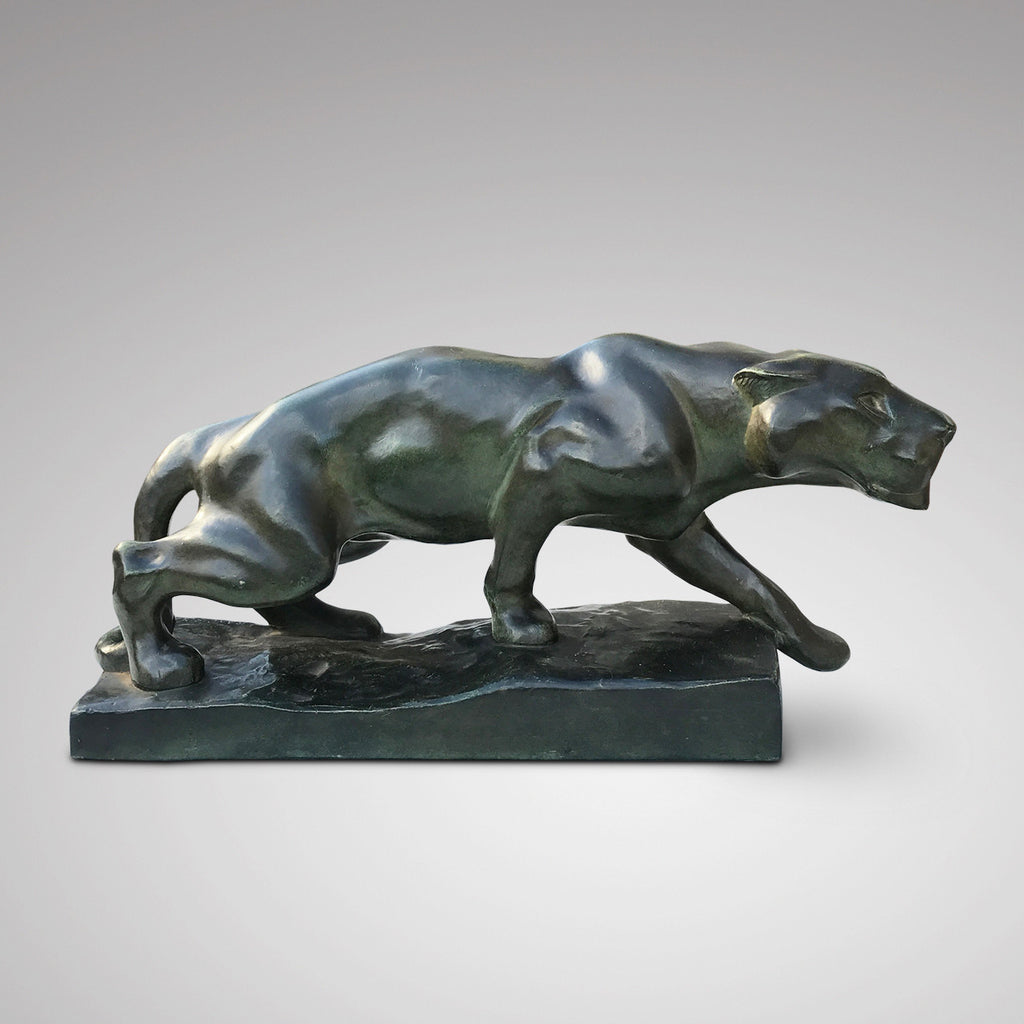 Art Deco Terracotta Sculpture of a Panther - Side View - 1