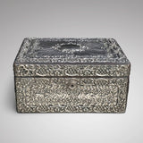 Large 19th Century Silver Jewellery Box with Bramar Lock - Front View - 3