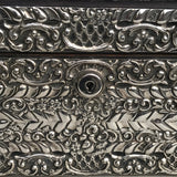 Large 19th Century Silver Jewellery Box with Bramar Lock - Detail View - 5