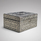 Large 19th Century Silver Jewellery Box with Bramar Lock - Side View - 2