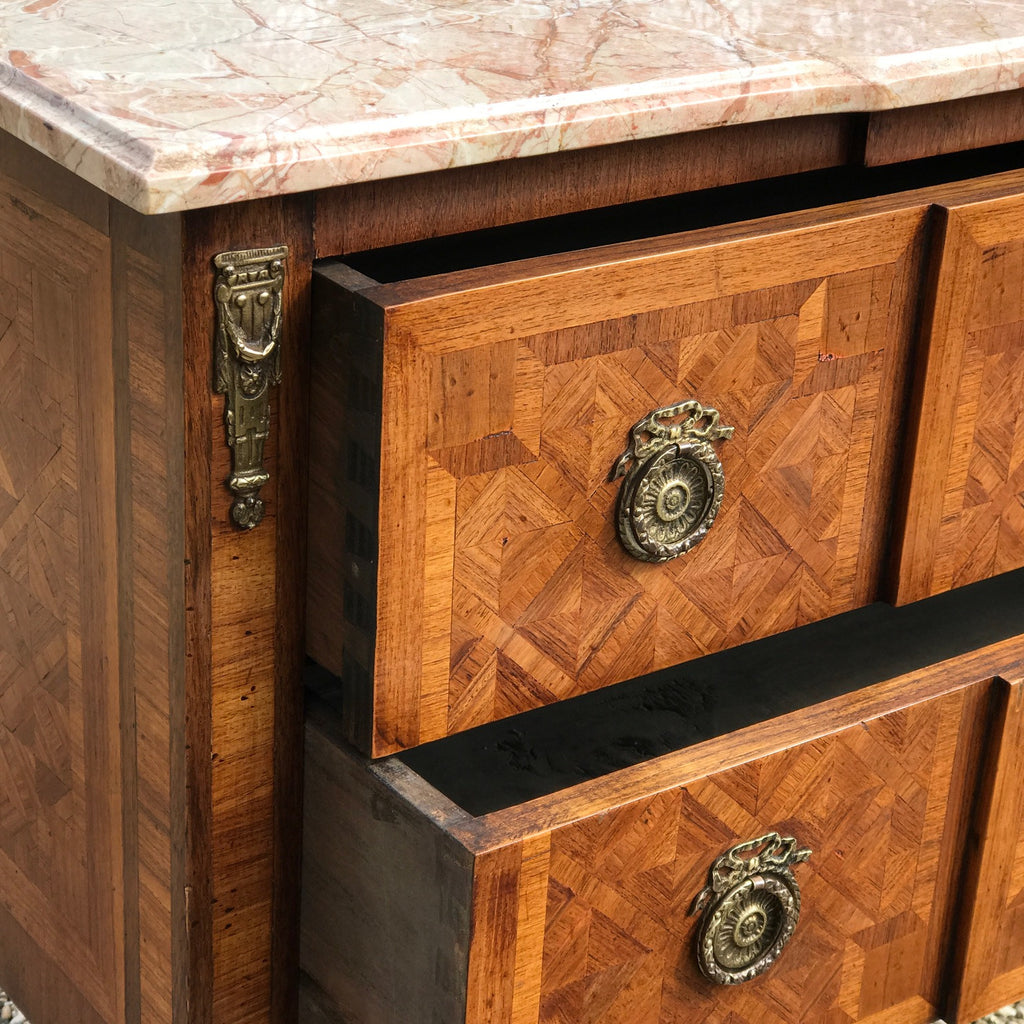 19th Century Walnut & Kingwood Marble Topped Commode - Drawer Detail - 5