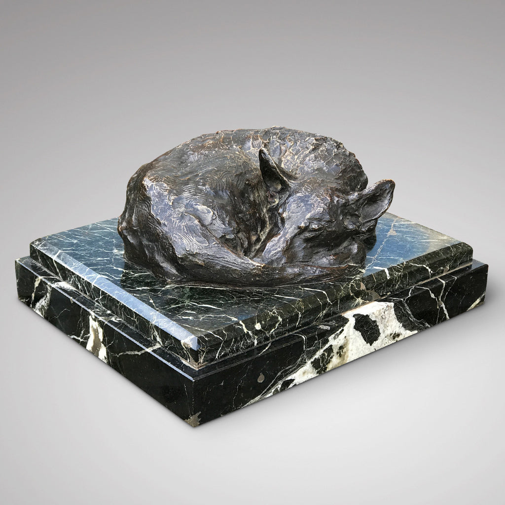 Bronze Dog Sleeping by Jacques Bordeaux Montrieux - View of Dog - 1