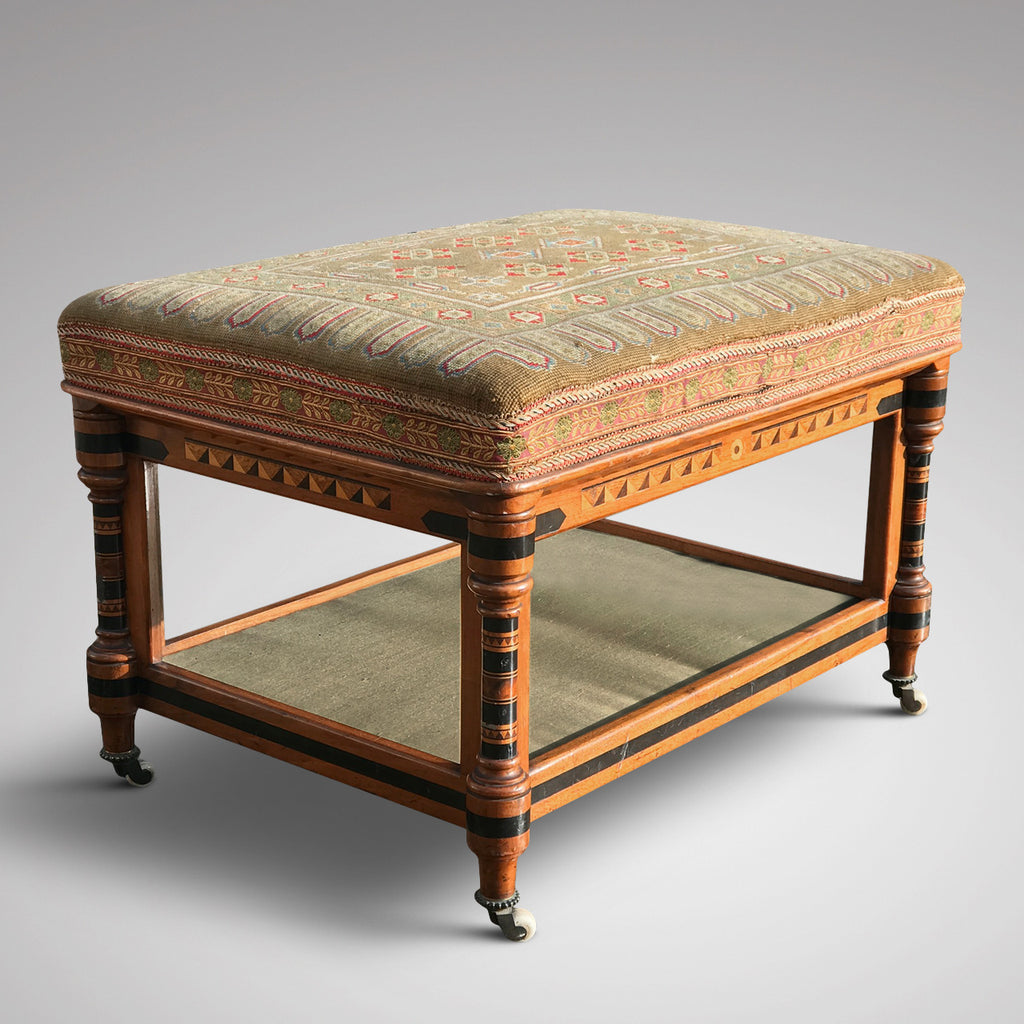 Aesthetic Movement Inlaid Two Tier Foot Stool - Main View - 1