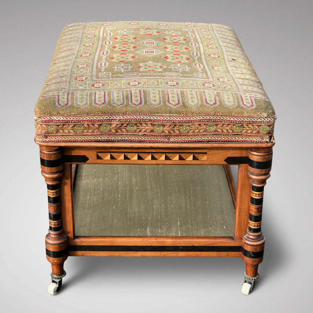 Aesthetic Movement Inlaid Two Tier Foot Stool - Side View - 2