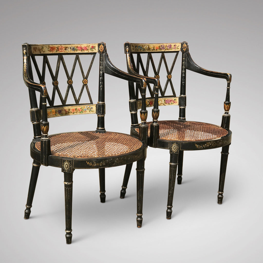 An Exceptional Pair of Regency Painted Chairs - Front & Side View -1