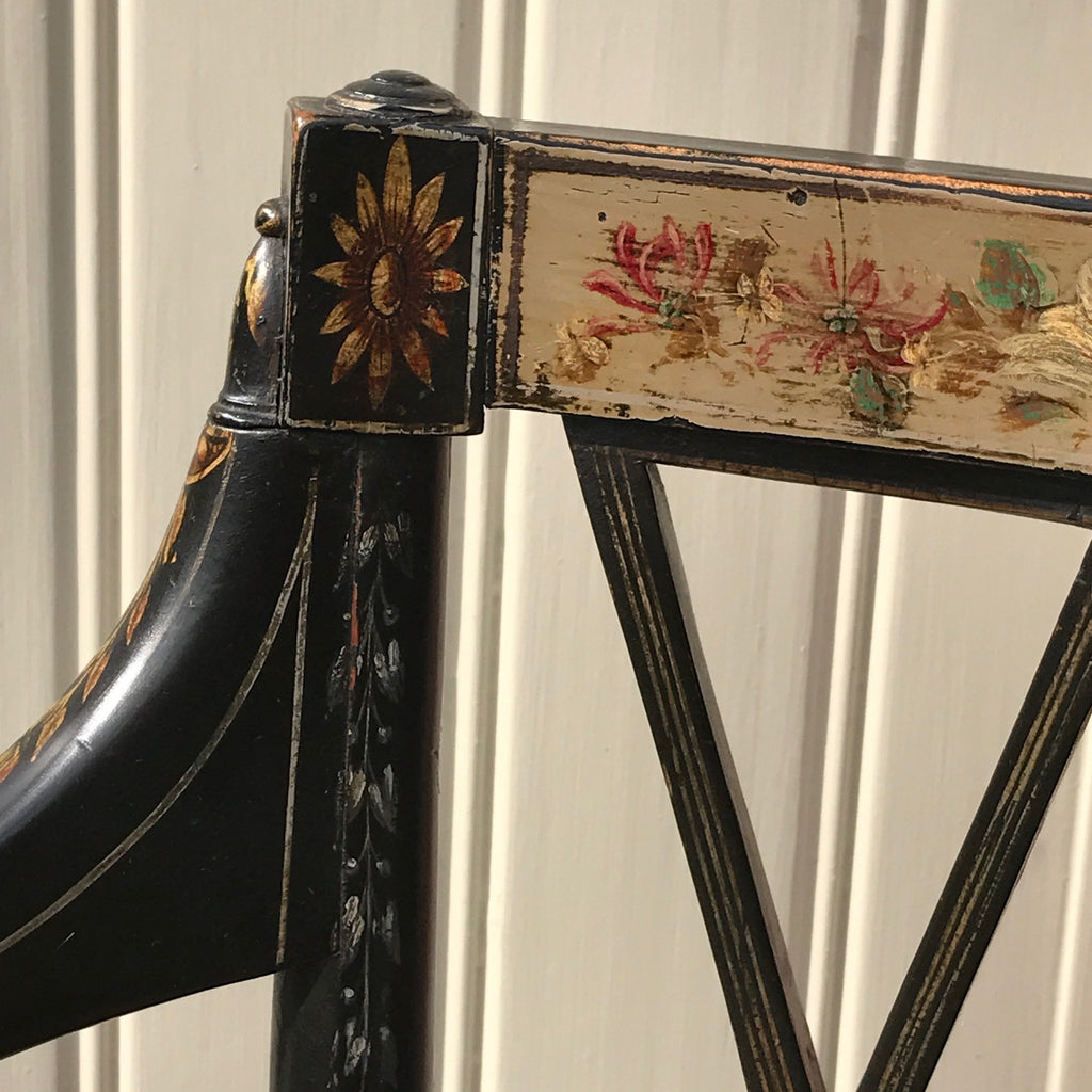 An Exceptional Pair of Regency Painted Chairs - Painted Detail - 5