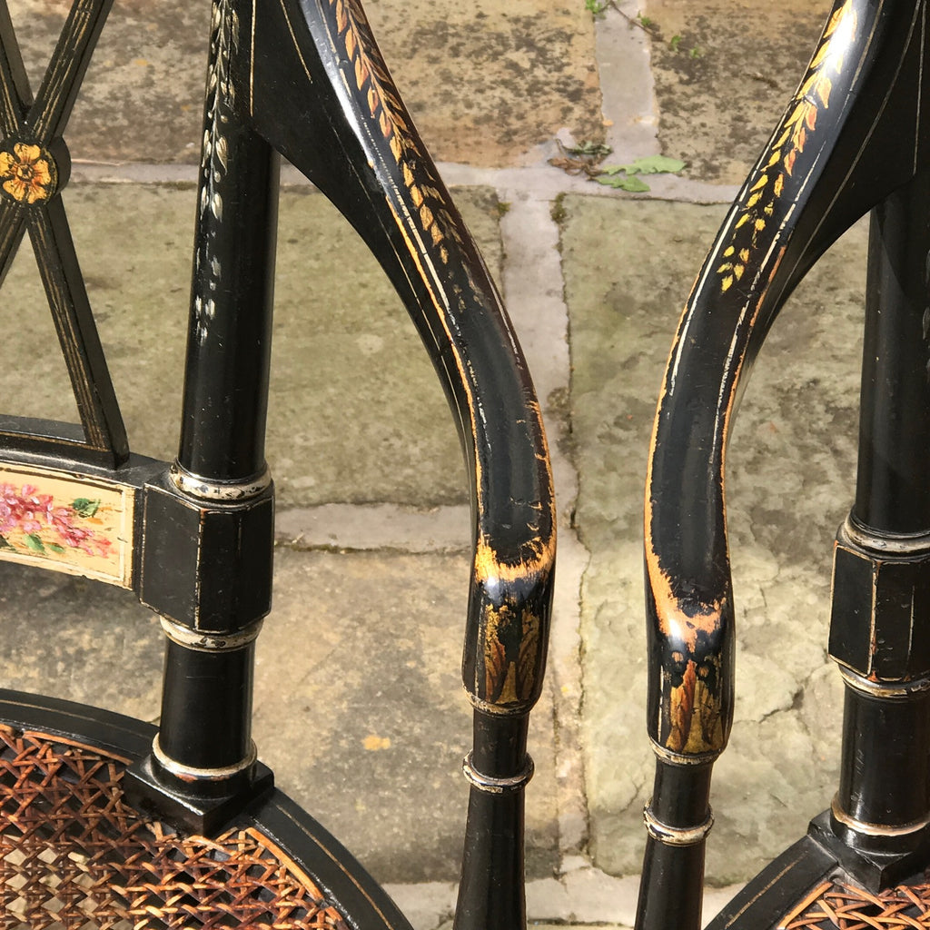An Exceptional Pair of Regency Painted Chairs