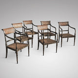 Set of 6 19th Century Japanned Armchairs in the Regency Style