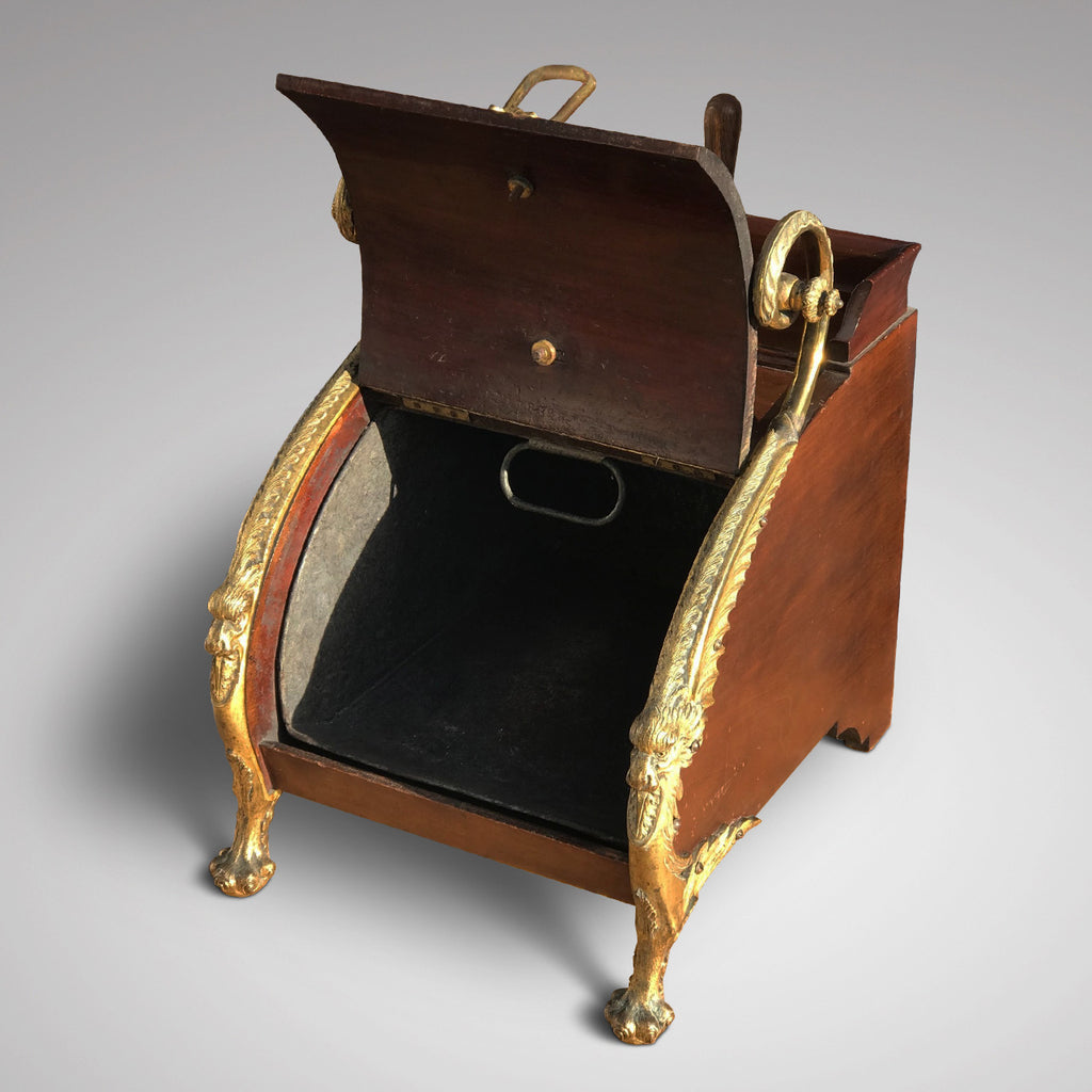 19th Century Mahogany Gilt Metal Mounted Coal Box - Open View - 2