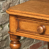 19th Century Golden Oak Writing Table - Drawer Detail View - 2