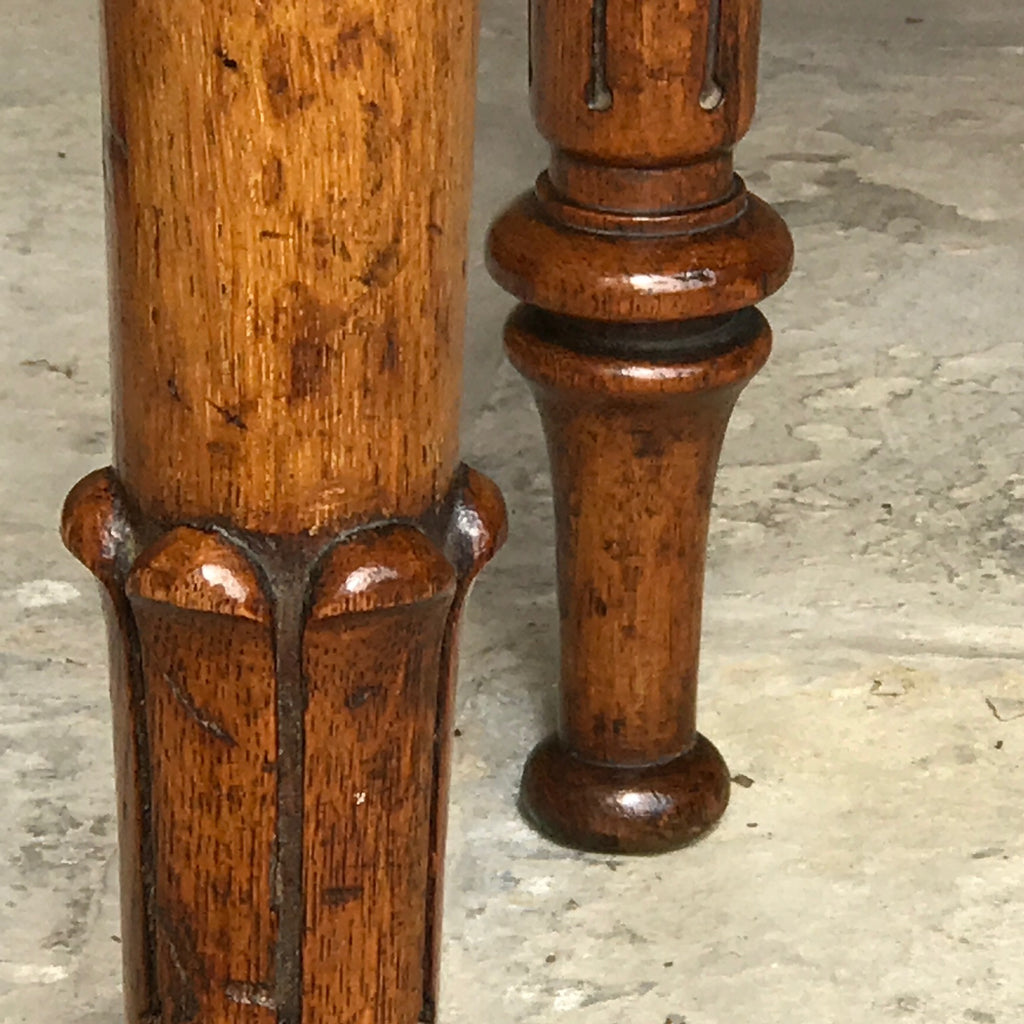 19th Century Golden Oak Writing Table - Detail of Carved Legs - 4