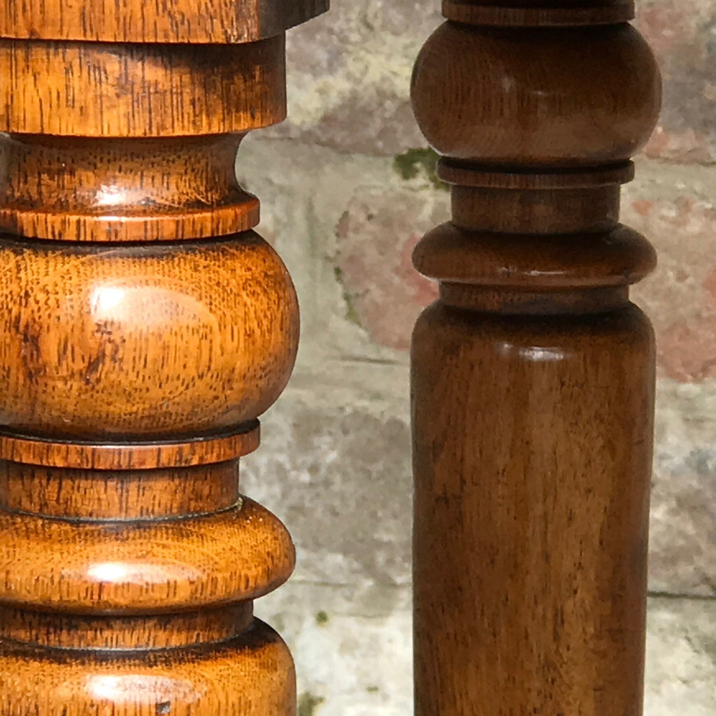 19th century Golden Oak Writing Table - Detail View of Legs -3