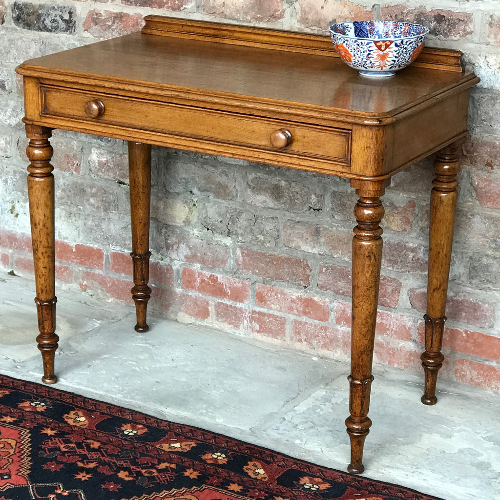 19th Century Golden Oak Writing Table - Front & Side View -1